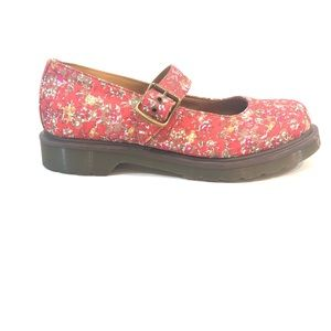 Dr Martens Mary Jane Buckle Shoes Floral Canvas